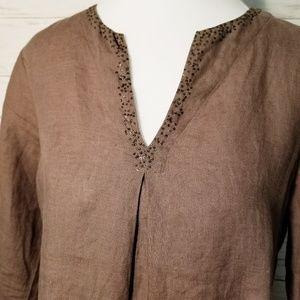 Eileen Fisher Irish Linen Beaded Tunic Size PM